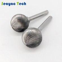Tête de meulage cylindrique en acier au tungstène de carbure de fraise à tête sphérique fente simple de bord de type D pour le travail de lacier et du fer