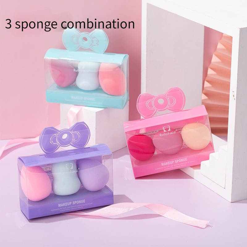 3 Pieces / Set of Makeup Sponge Dry Wet Two 3 In 1 Gourd Water Drip Water Diagonal Puff Cosmetic Cosmetic Kit cat wet food felix appetizing pieces of pauch for cats pieces in jelly lamb 24 85 g
