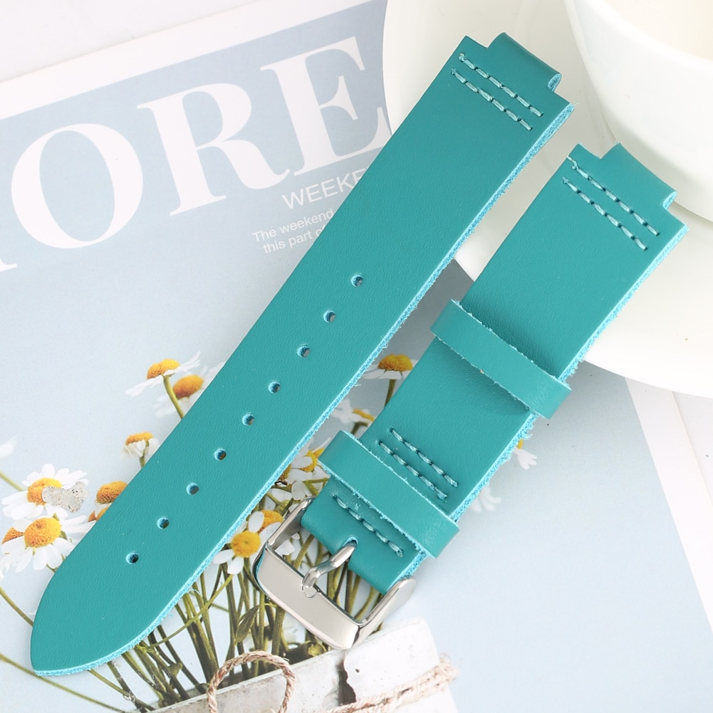 Male Women Elegant Leather Watchband Chic Wooden Watches Blue Strap Exquisite Pin Buckle 9 Holes Str