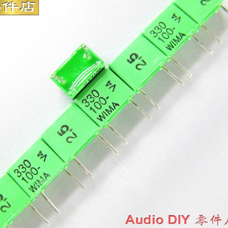 Capacitor de Filme de Áudio de Alta Pces Novo Verde Wima Fkp2 330pf 100v 100v330pf 2.5% P5mm Precisão 0.33nf 331 – 20
