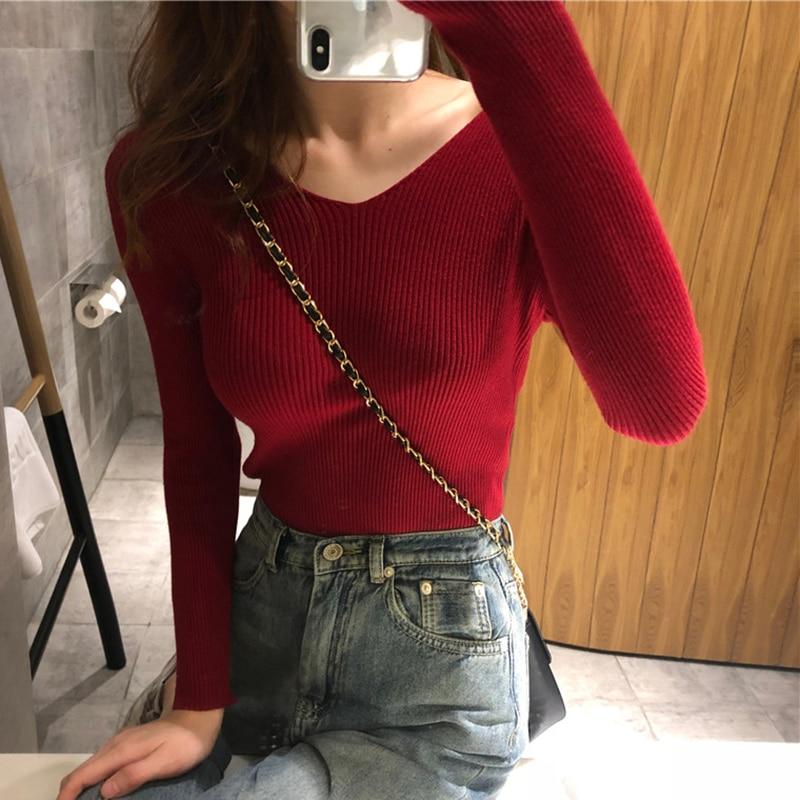 shintimes V-Neck Sweater Women Knitted 2019 Fall Fashion Winter Clothes High Elastic Korean Female Pullover Feminino Pull Femme