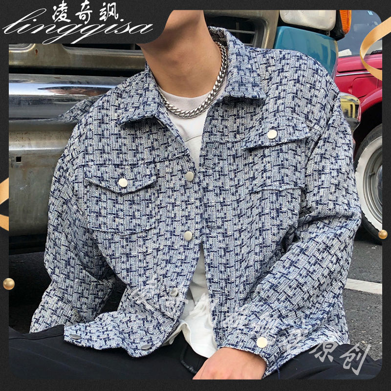 Новинка весна-осень 2021, модная мужская клетчатая куртка, уличная Мужская свободная повседневная куртка большого размера, мужская куртка