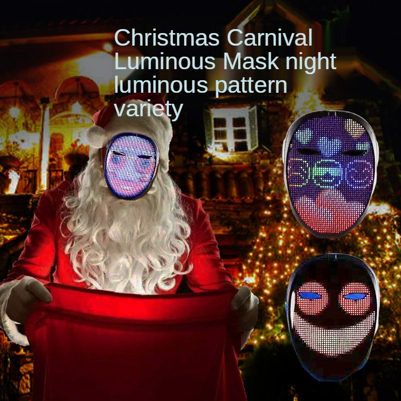 Full Color LED Luminous Mask Halloween Christmas Party Bluetooth App Gesture Face Changing Mask Supports DIY Music