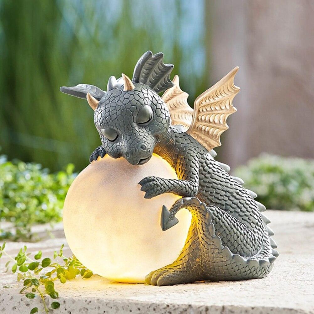 ثلاثية الأبعاد ديناصور صغير شكل النوم النحت مصابيح طاولة راتنج ديكور أضواء ليلية التنين نموذج حديقة في الهواء الطلق فناء الديكور