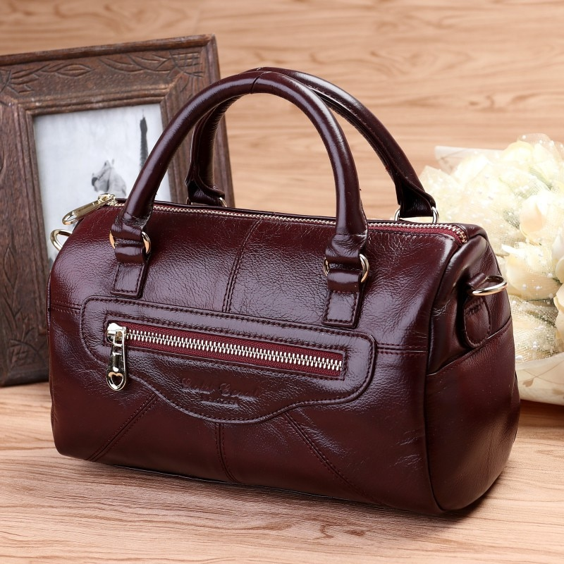 Norbinus Women Genuine Leather Handbag Real Cowhide Messenger Shoulder Bag Ladies  Fashion Designers Tote Top Handle Bags Bolsas