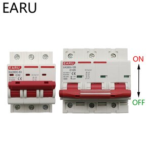 DC 1000V 3P Solar Mini Circuit Breaker Overload Protection Switch 6A 16A 20A 25A 32A 50A 63A 80A 100A 125A Photovoltaic PV MCB