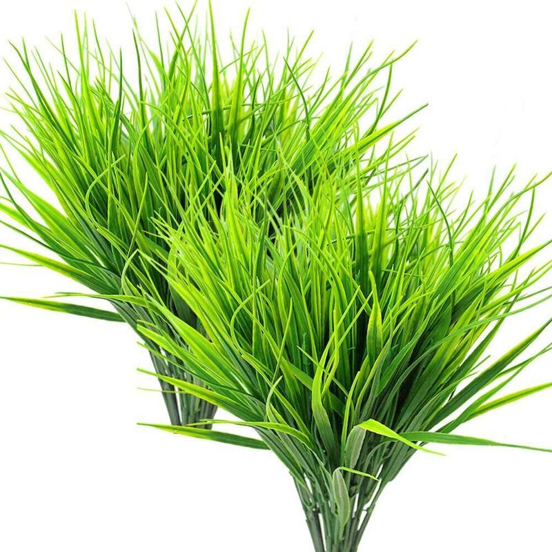 8 шт. искусственные наружные растения, поддельные пластиковые зеленые кустарники пшеничная трава наружная оконная коробка Verandah подвесной горшок для помещений