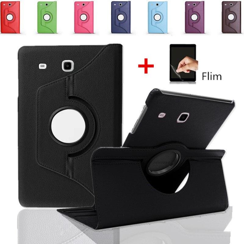"""360 RotatingCover Für Samsung Galaxy Tab E 9,6 """"SM T560 T561 Leder Stand Tablette Fall Für Samsung Galaxy Tab E Fall + film"""