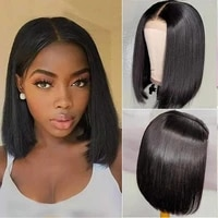 short bob lace front human hair wigs brazilian straight remy 5x5 lace closure bob wig 150 pre plucked transparent lace wig