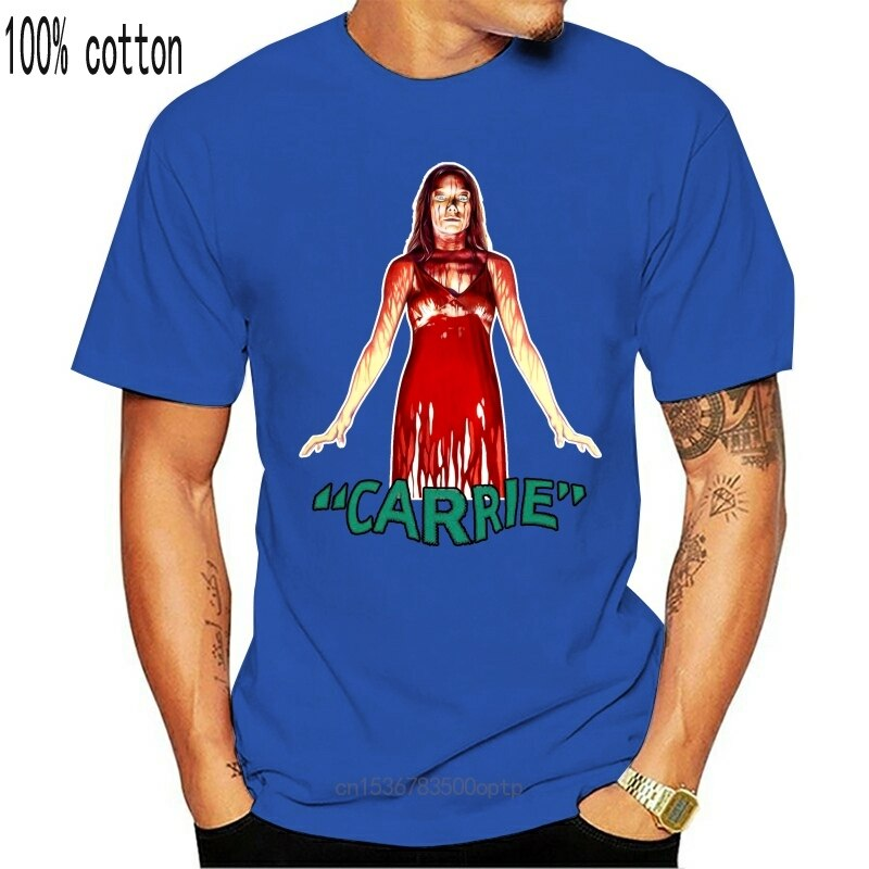 New Carrie Tops Tee T Shirt 1976 Horror Movie Brian De Palma Stephen King Book T-Shirt High Quality