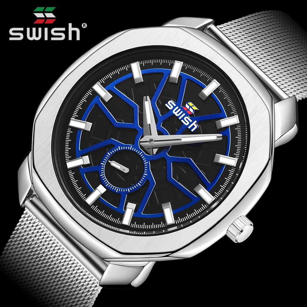 SWISH Silver Big Dial Watch Men Sport Quartz Clock Fashion Men Watches Top Brand Luxury Man Military