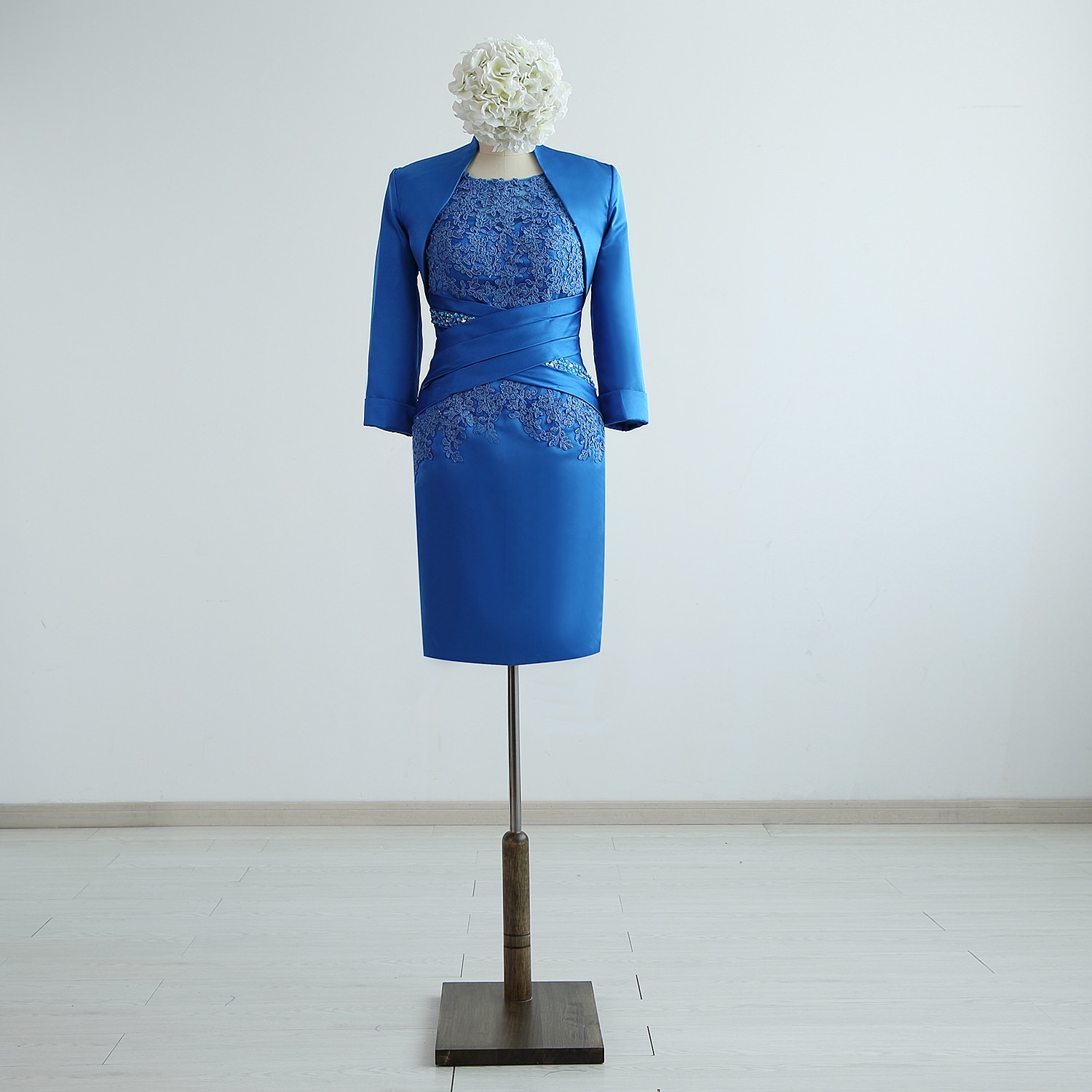 Royal Blue Satin Lace Beading  Short Knee-Length Mother of the Bride Dresses With A Jacket Custom Made