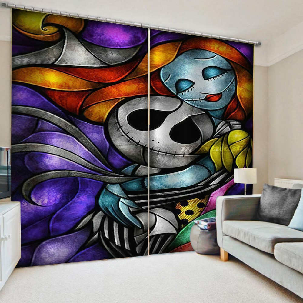 Modern Kitchen Curtains Skull Curtains For Living Room Bedroom KTV Hotel Home Decor Cortinas Drapes Colorful Blinds
