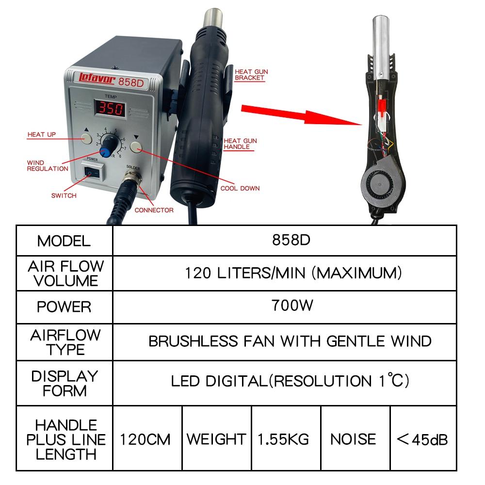 Hot air gun 858D 2 in 1 soldering station 700W 110V 220V BGA Rework SMD SMT welding repair tool Heat gun LED Digital Solder