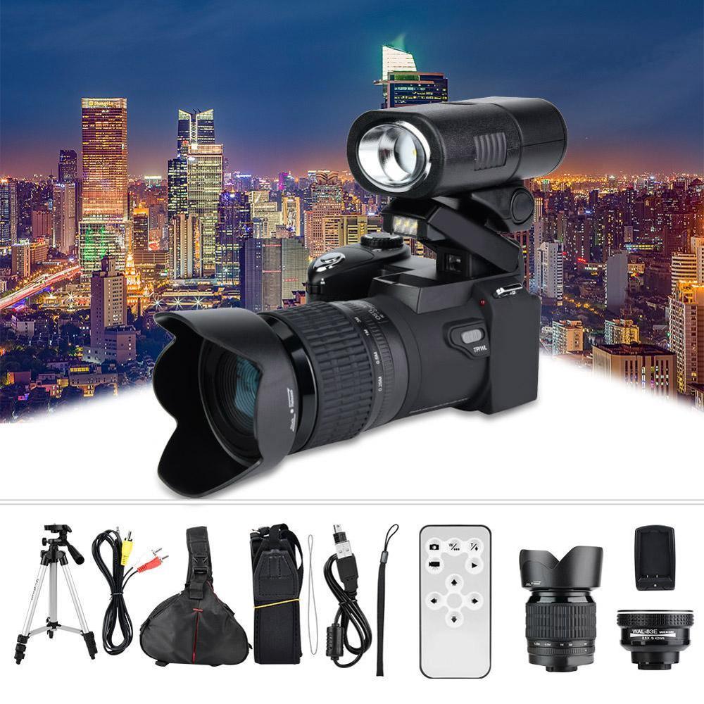 33MP HD D7300 Digital Camcorder Camera Wide Angle Lens + 24X Telephoto Lens + LED + Tripod Set