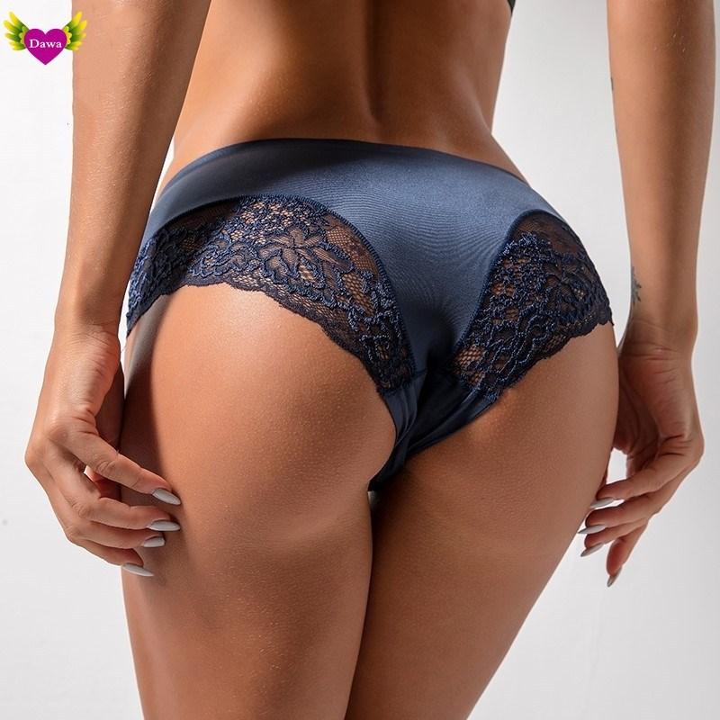 Women Underwear Bottom Panties Sexy Solid Lace Silk Patchwork Soft Fitness Slim Nightwear Sleepwear Plus Size M-2XL