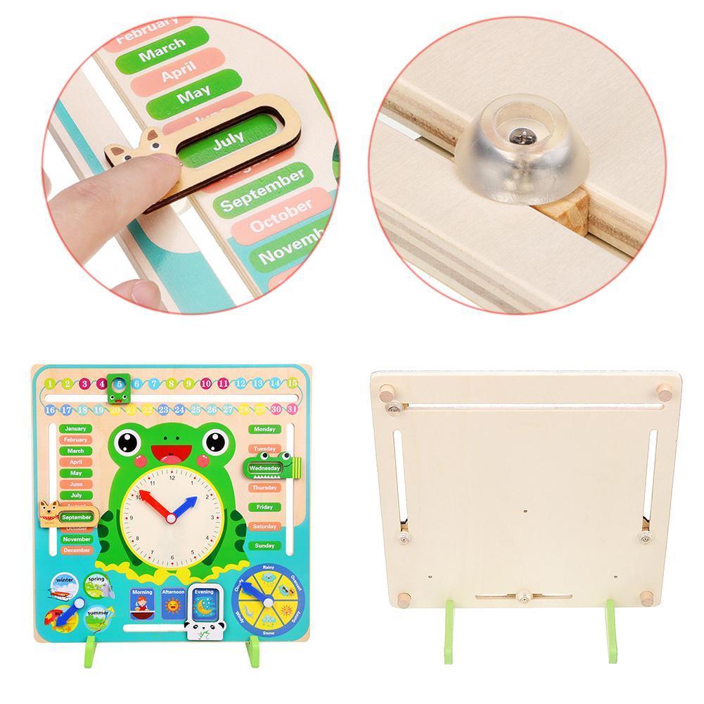 Montessori Wooden Toys Baby Weather Season Calendar Clock Kids Aids Cognition Teaching Time Educational Toys Preschool Puzz V4U4