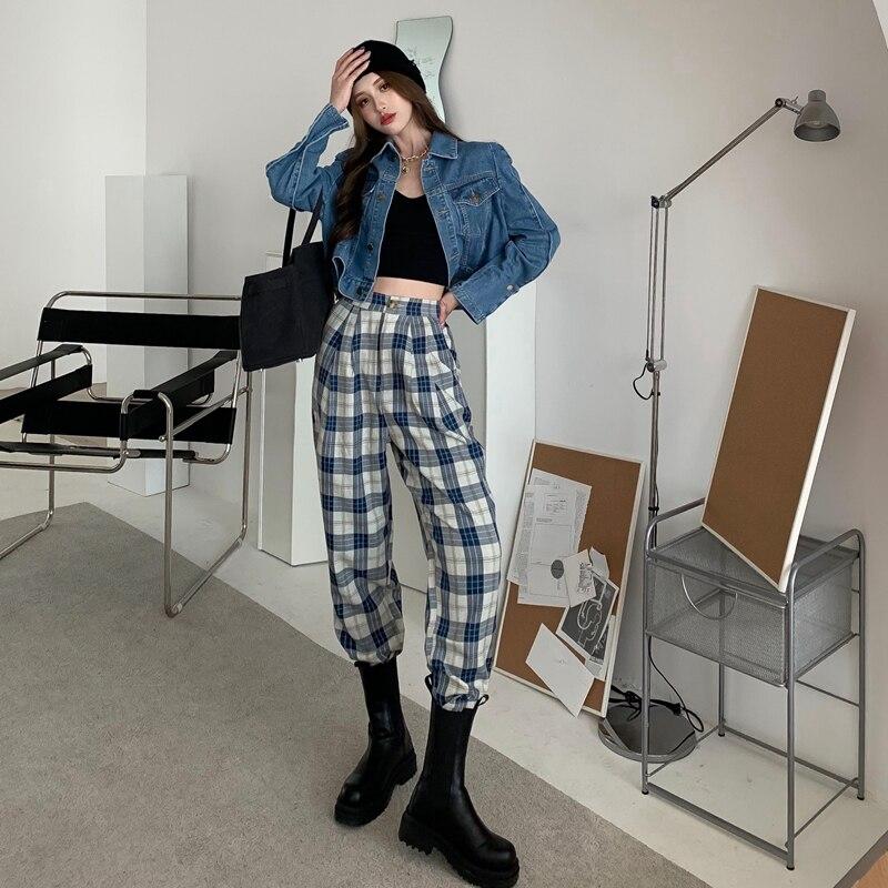 2021 Ретро клетчатые брюки в гонконгском стиле женские прямые клетчатые брюки женские клетчатые брюки с широкими штанинами женские клетчаты...
