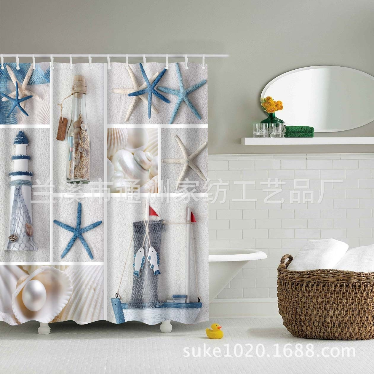 Cortina de ducha Floral transparente y gris, Cortina de ducha lavable natural,...