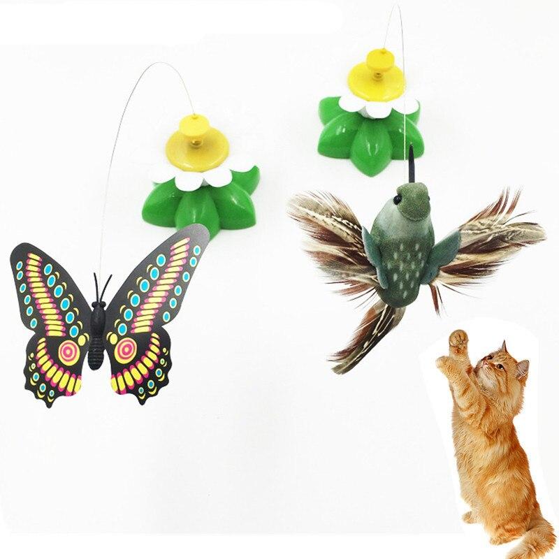 Bonito juguete eléctrico rotatorio colorido de mariposa, pájaro, perro gato gracioso, juguete para rascar para gato, perro pequeño, gatos, inteligencia, lluvia