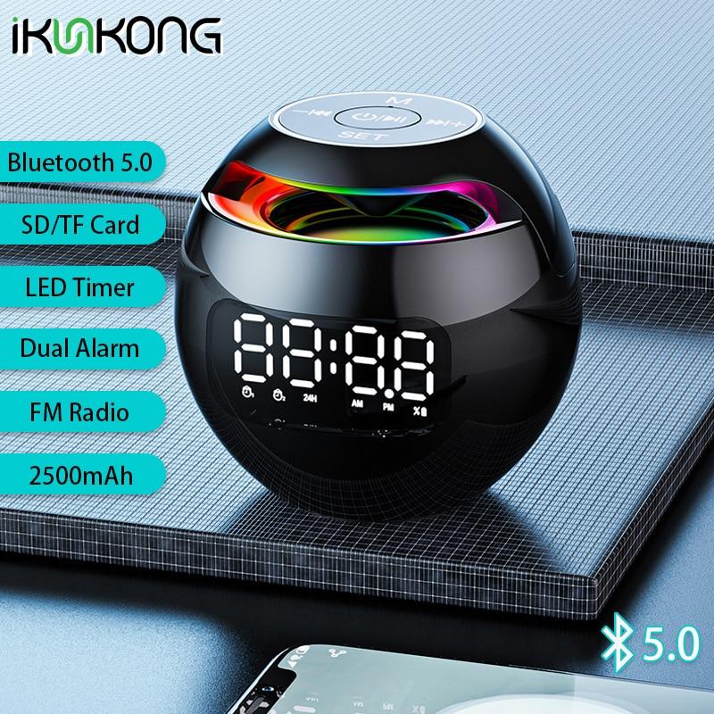 Minialtavoz Portátil con Bluetooth, Radio FM con Altavoces De luz LED, despertador,...
