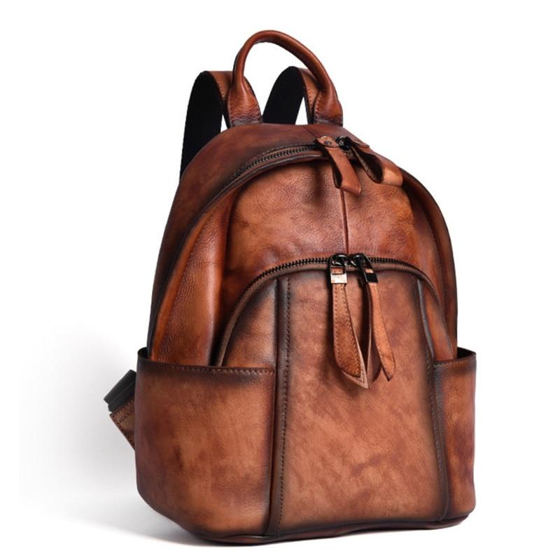 VOLASSS جديد 2021 اليدوية الرجعية حقائب ظهر للمراهقين الفتيات النساء جلد طبيعي Backbag المرأة حقيبة الصلبة أكياس ظهر للسفر
