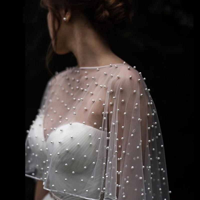 2021 MYYBLE Wedding Accessories Bolero Bridal Cloak Pearls Wedding Cape short front long back Women Wrap Cape Evening Wrap Shawl