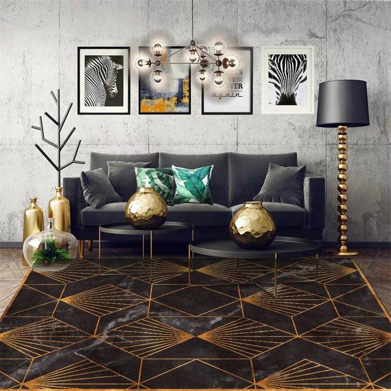 الذهب لهجة هندسية مخطط البساط على غرار الحديثة فو الرخام الأسود نوم سجادة غرفة معيشة بطانية سرير الحمام المطبخ الكلمة حصيرة