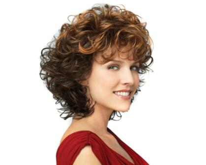 """ZM 12"""" Brown to Black Ombre Wigs High Density Temperature Short Curly Wig with Bangs Synthetic Hair Wig for Black/White Women"""