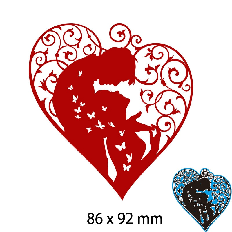 Cutting Dies  Heart Love Couple DIY Scrap Booking Photo Album Embossing Paper Cards 86*92mm