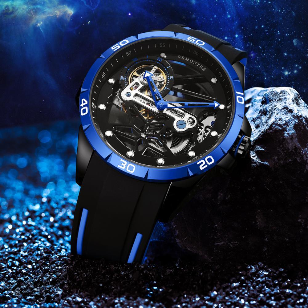 GRMONTRE-ساعة رياضية ميكانيكية أوتوماتيكية فاخرة للرجال ، راقية ، غير رسمية ، هيكل عظمي ، ساعة رجالية