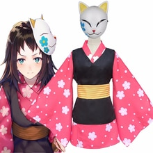 Anime démon tueur Kimetsu no Yaiba Makomo ensemble complet Cosplay Costume femmes hommes Kimono uniforme PVC masque perruque Halloween Costume de fête