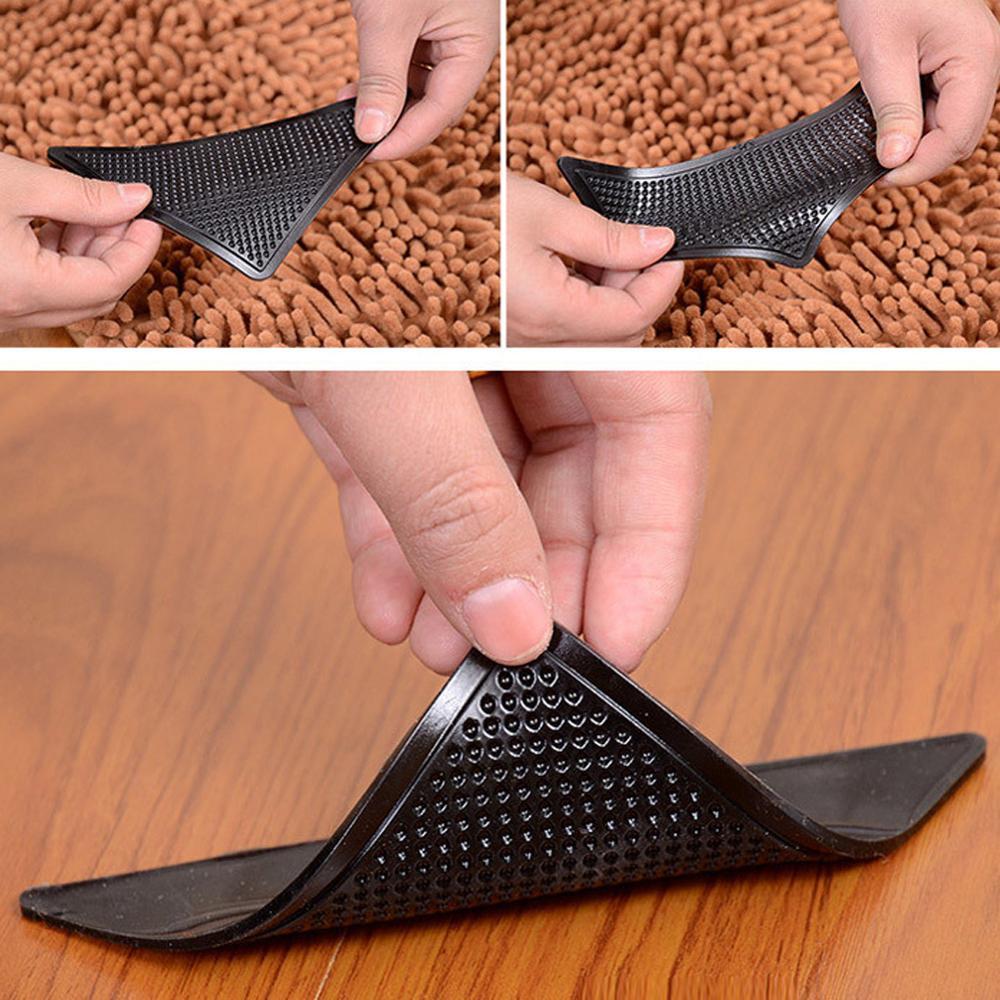 4Pcs/lot Triangle Reusable Anti-skid Rubber Mat Non Slip Patch Mat Washable Rug Gripper Stopper Tape Sticker Black Corners Pad