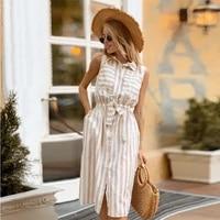 shyloli women front pockets mid dress caual turn down collar sleeveless khaki striped straight sashes dress 2021 new fashion