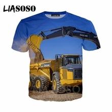 T-shirt 3D print Men women excavator Anime machine suit streetwear truck t shirt Harajuku clothes homme tshirt Short Sleeve A274