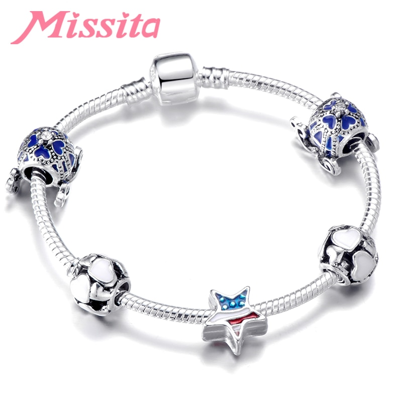 MISSITA Trendy Simple Crown Star Charm Bracelet with Love Heart Pattern Beads Bracelets for Women Anniversary Brand Jewelry