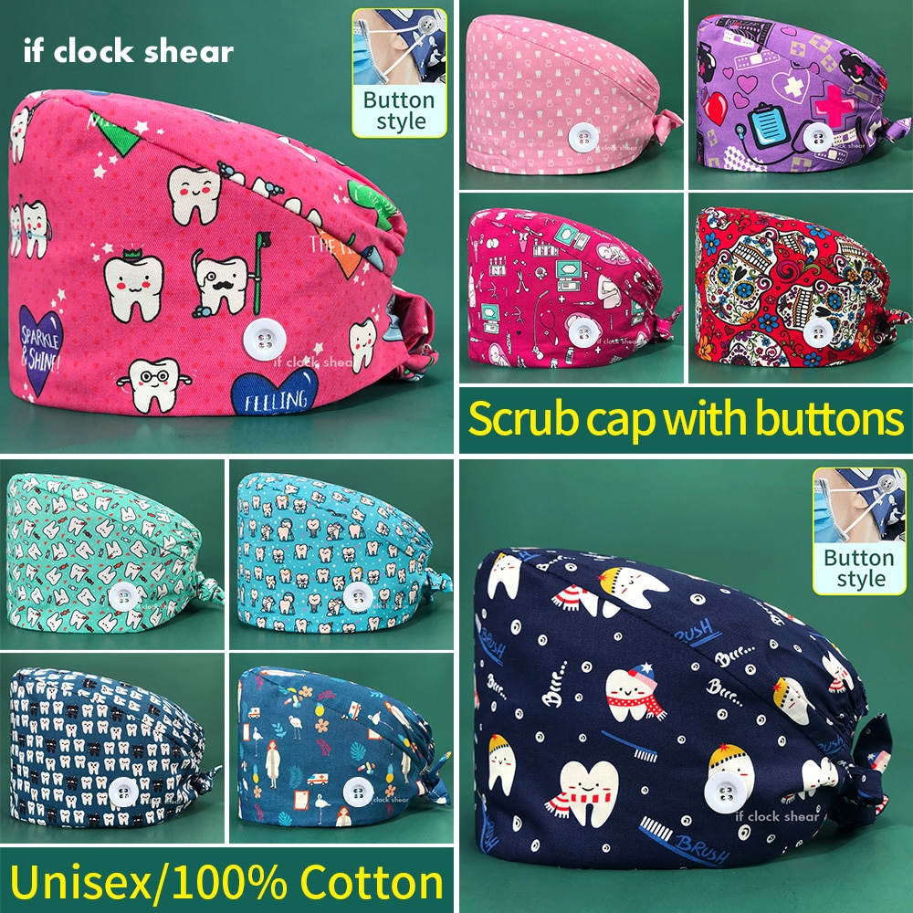 Tooth printing Pet grooming work hats lab dustproof hats Elastic scrubs caps tooth beauty store scrubs caps with sweat-absorbent