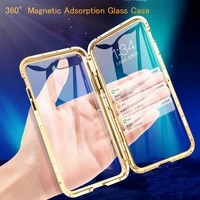 360 metal magnetic adsorption case for iphone 12 11 pro xs max x xr double sided glass case for iphone 7 8 6 6s plus xs se cover