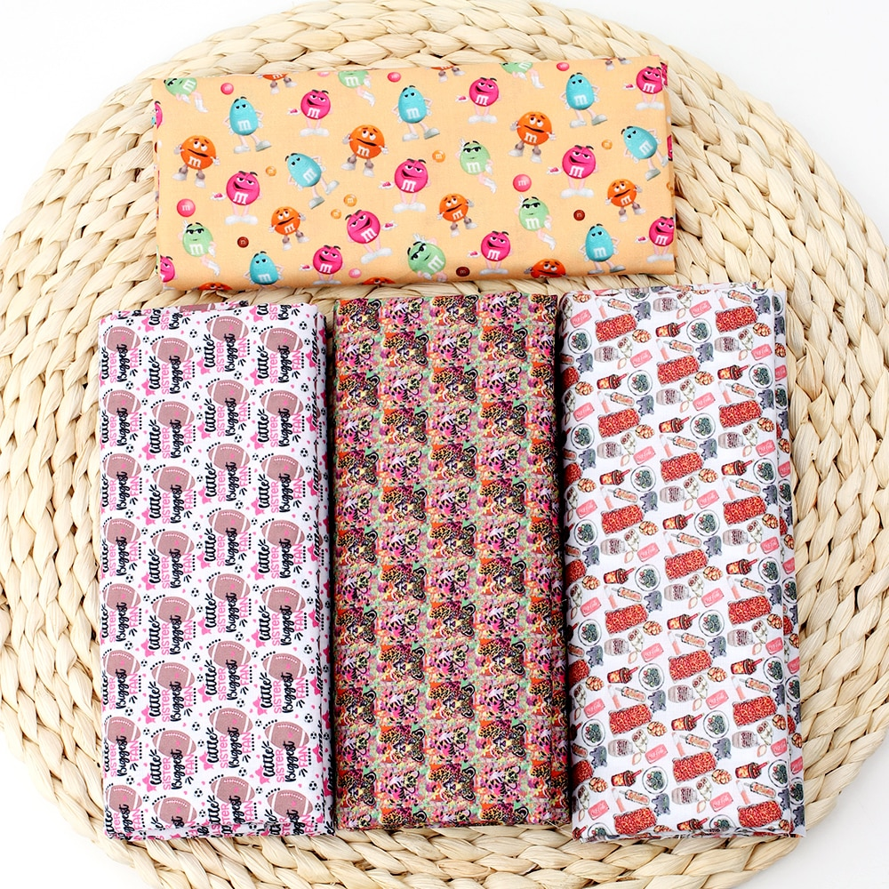 IBOWS tela de algodón de poliéster coque fútbol Tigre impreso tela de tela para parches de vestir hogar textil hecho a mano DIY 45*150 cm/unids