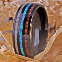 ring wedding band engagement ring for women mens ring black tungsten with wood fire opal antler anniversary party ring