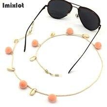 Nieuwe Mode Womens Lenzenvloeistof Kettingen Roze Pompom Bal Schelpen Zonnebril Leesbril Keten Eyewears Cord Holder Neck Strap Touw