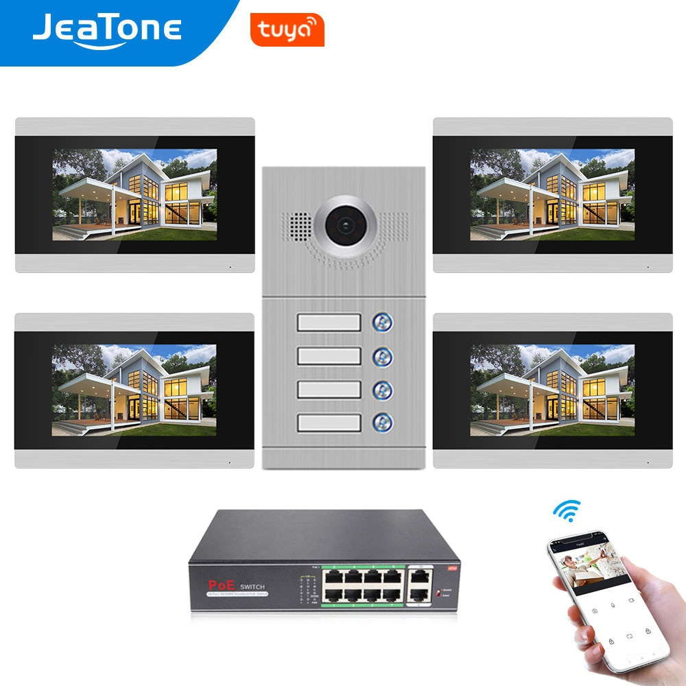 Jeatone 4 Apartments WiFi IP 7'' Touch Screen Video Door Phone Intercom with POE Function, Motion Detection, Monitoring Funtion