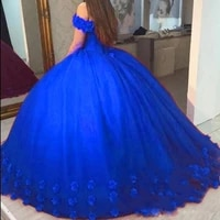 appliques puffy ball gown quinceanera dresses sweet 16 off shoulder tulle lace up back 2019 prom party pageant for girls vestido
