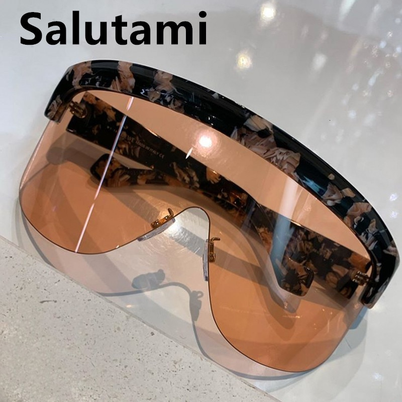 Unique Oversized One Piece Shield Sunglasses For Women Brand Sun Glasses Rimless Big Print Leopard Shades Men Windproof Vintage