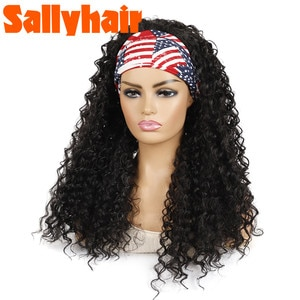 Sallyhair Deep Wave Synthetic Hairband American Wigs High Temperature Water Wave Curly Wig Black Blonde Color