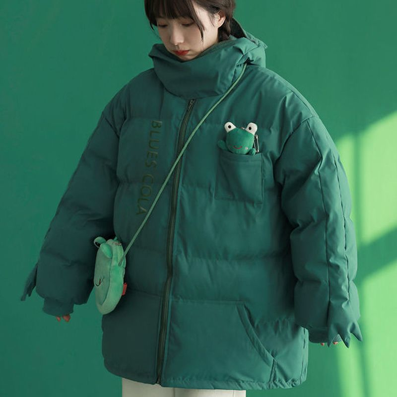 Kawaii الضفدع سترة قطن معطف الإناث 2021 الشتاء الكورية موضة الكرتون لطيف دمية زوجين المتخصصة تصميم الشعور سترة قطن دافئ
