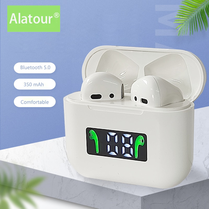 Alatour Wireless Headphones Bluetooth 5.0 Earphones Sport Earbuds Headset With Mic Charging box Head