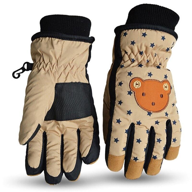 Gants chauds dhiver pour enfants coupe-vent imperméable à leau gants chauds fabricants dessin animé tout-Fing Ski doigt complet gants Khak