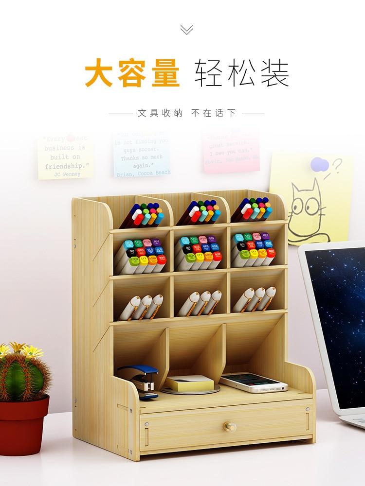 Faroot organizador de escritorio de madera Multi-funcional bolígrafo para bricolaje caja de soporte de escritorio papelería hogar Oficina suministro