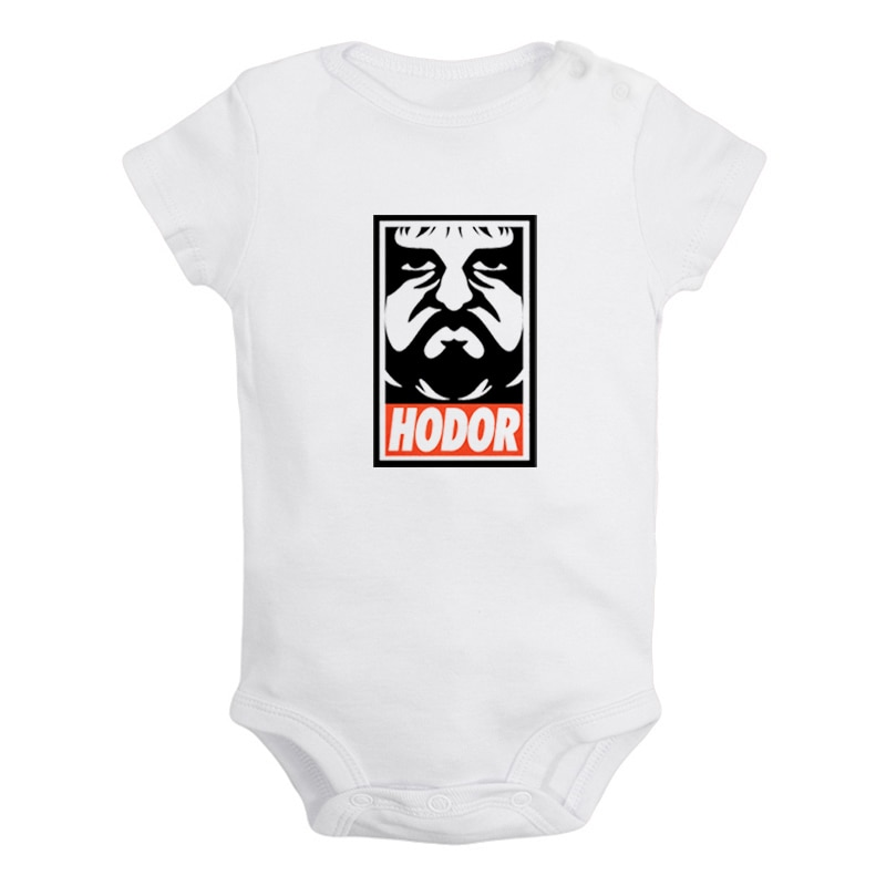 Hodor segurar a porta design recém-nascido do bebê meninos meninas outfits macacão impressão infantil roupas de algodão conjuntos